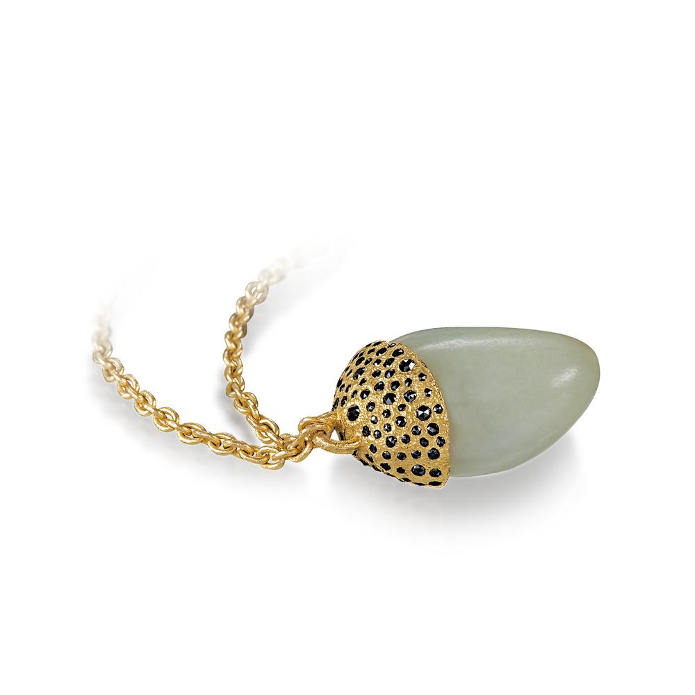 White Jade Pebble Pendant