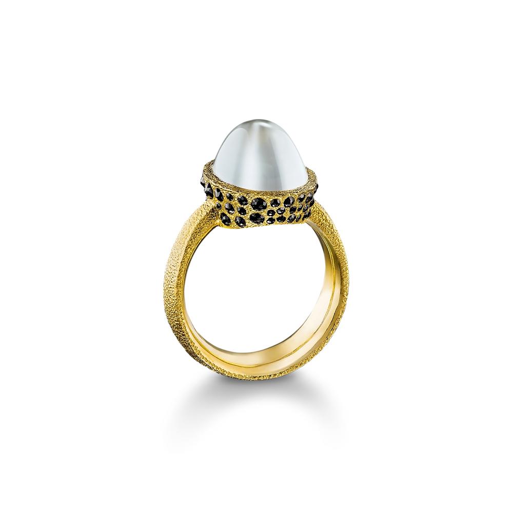 Moonstone with Black Diamonds