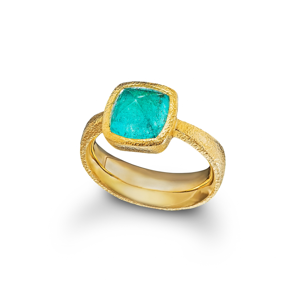 Paraiba Tourmaline Sugarloaf Ring