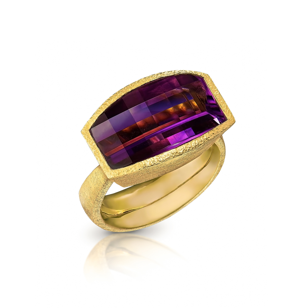 Opposed Bar Amethyst Ring