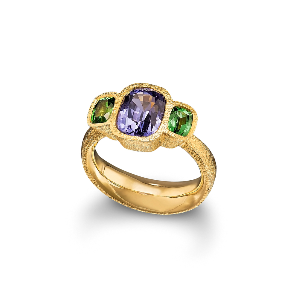 Spinel and Tsavorite Garnet Ring