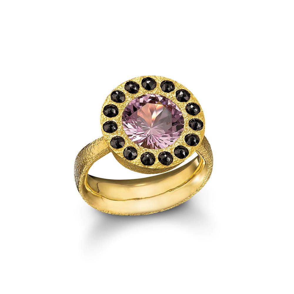 Lavender Spinel Halo Ring
