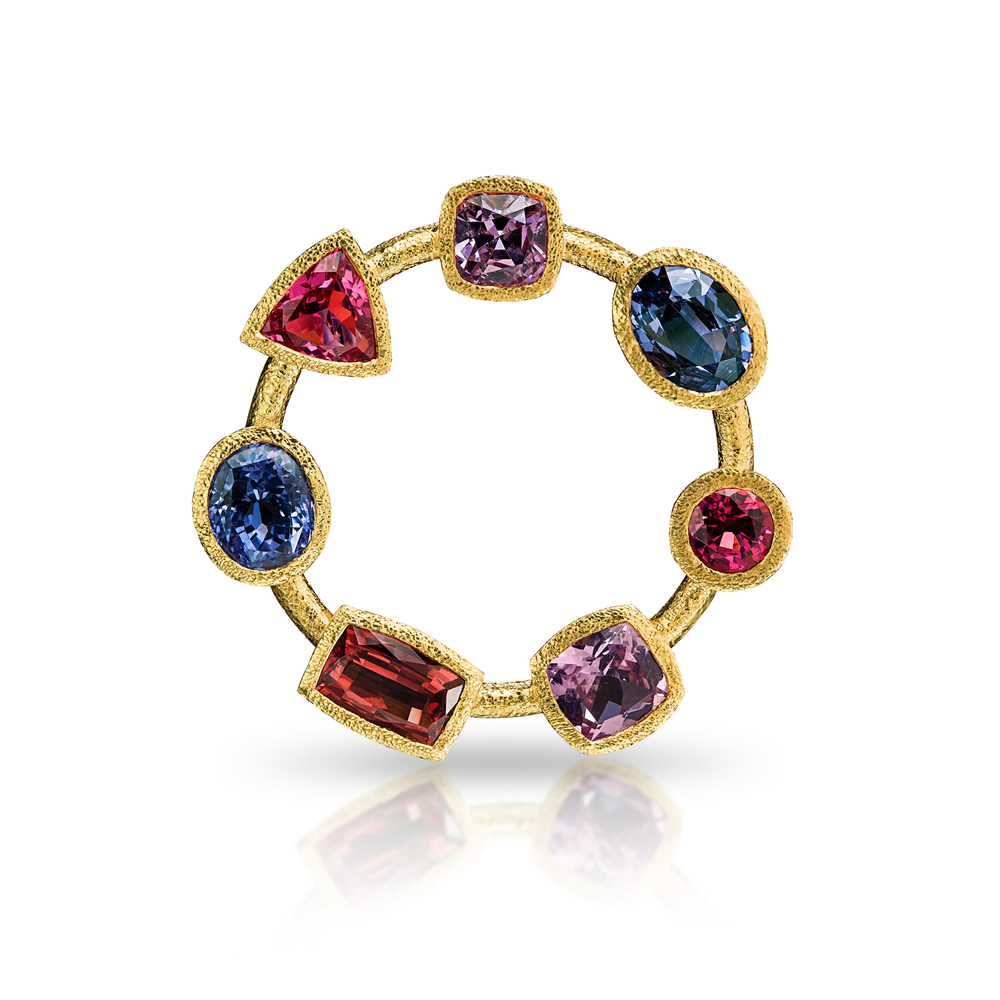 Spinel Circle Brooch