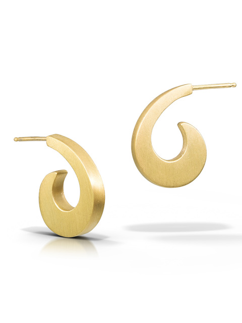 Gold Swirl Hoop Earrings $156