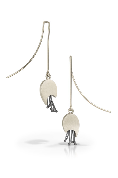 Silver Rosebud Earrings $90