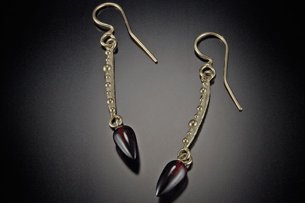 Gold and Garnet Drop Earrings $725