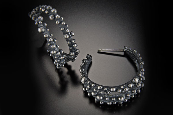 Silver Double Hoop Post Earrings $145