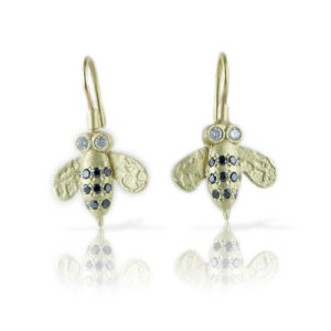 Pave Bee Earrings: 18K with Black & White Diamonds. Large $1400, Small $875