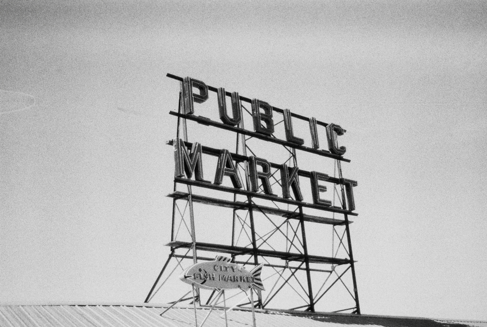 Seattle Pike Place Market | Black and White Film Photography by Azzari Jarrett