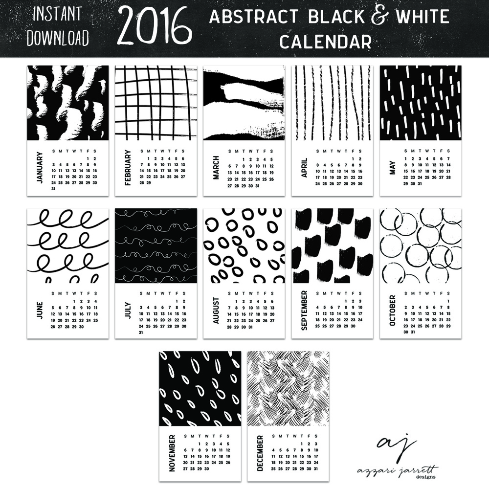 Calendar Black And White : Abstract black and white printable calendar