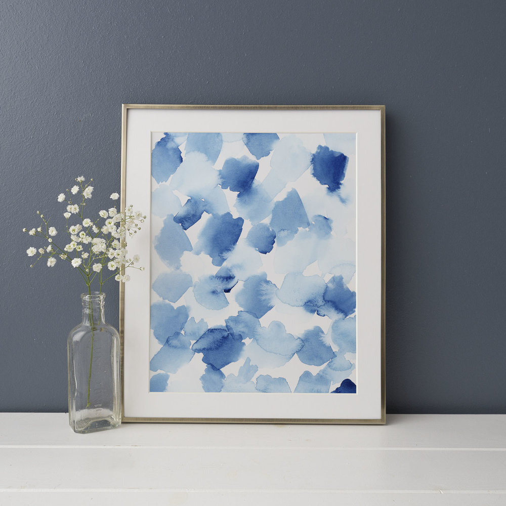 """Blue"" Watercolor Art Print 