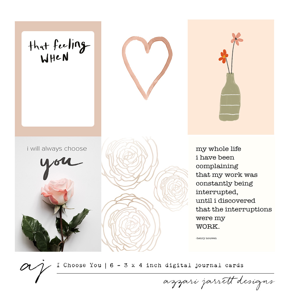 """I Choose You"" Printable Journal Cards 