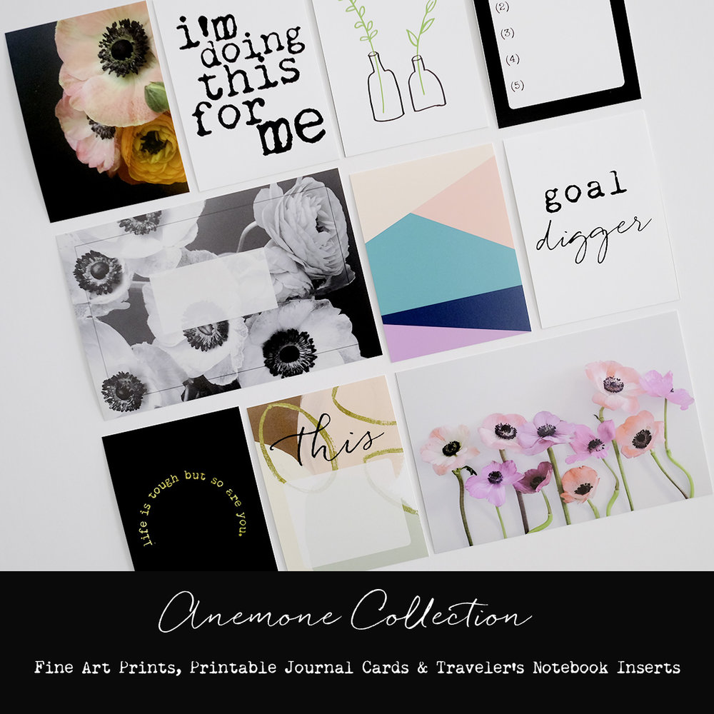 Azzari Jarrett | Anemone Collection - Fine Art Prints, Printable Journal Cards & Traveler's Notebook Inserts
