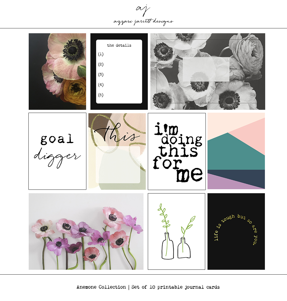 Azzari Jarrett | Anemone Collection - set of 10 printable journal cards