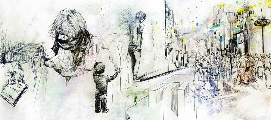 Image description: an illustration for the eugenics article feature some children, adults, and building.