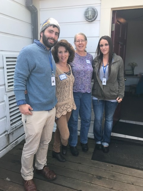 Fort Bragg's Street Medicine team in front of drop-in clinic at Hospitality Center, 101 N. Franklin Street. From left to right: Matt Winslow, Faith Simon, Linda Jo Stern, Janette Ornelas