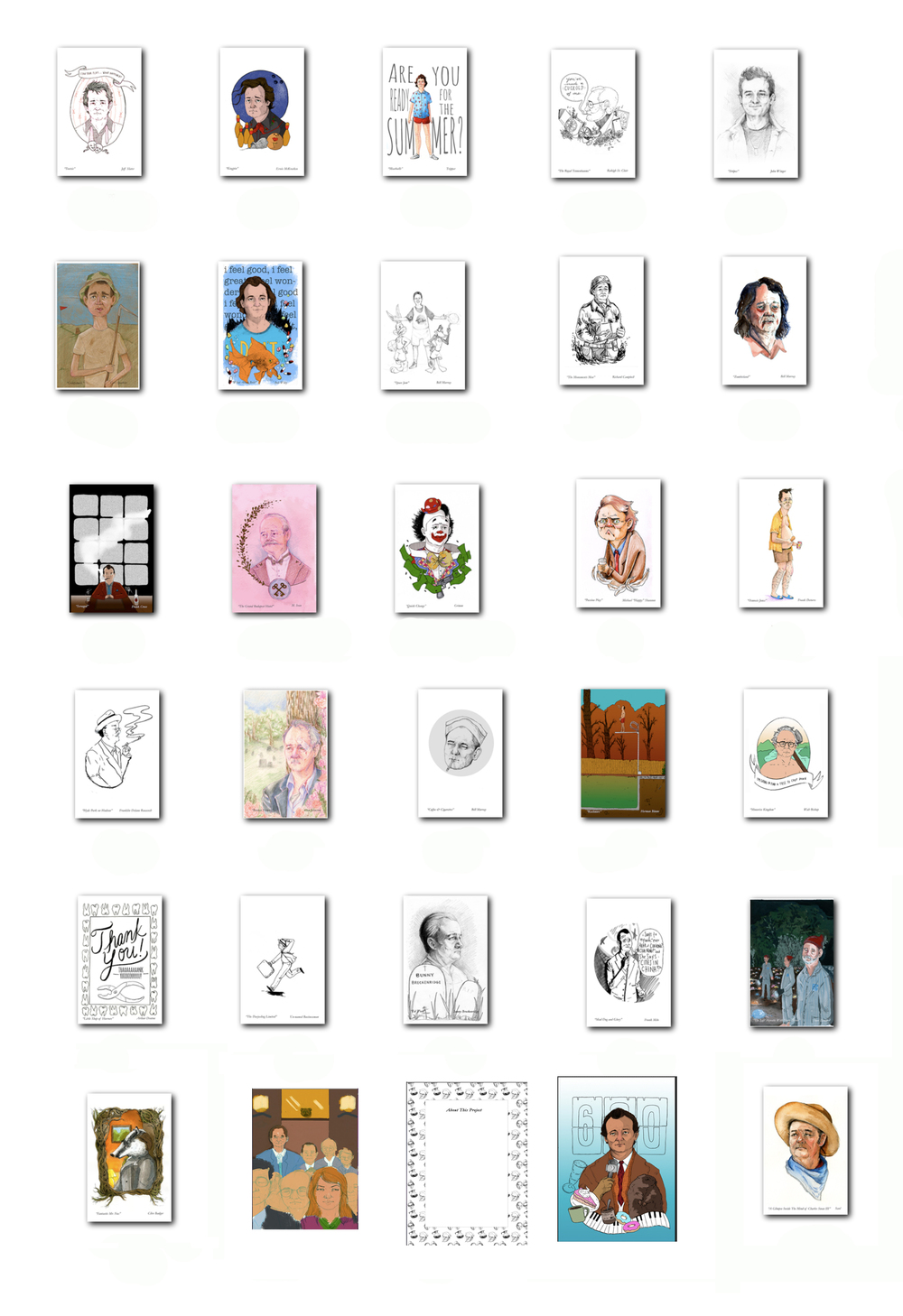 A preview of all 31 pieces that will be going into the book.