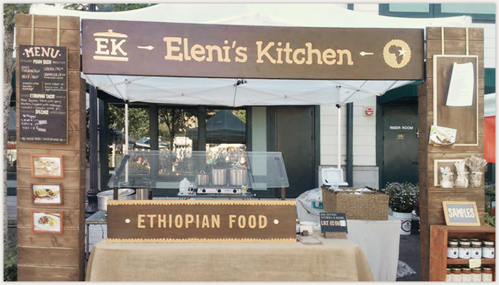 Farmer 39 s market booth environment design for eleni 39 s kitchen relevant studios a branding - Food booth ideas ...
