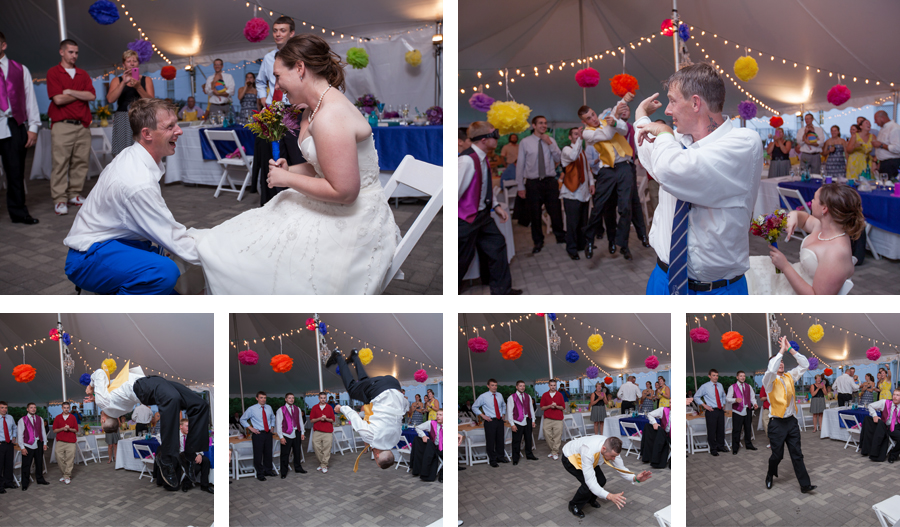 The best man was so excited he caught the garter he was jumping for joy.