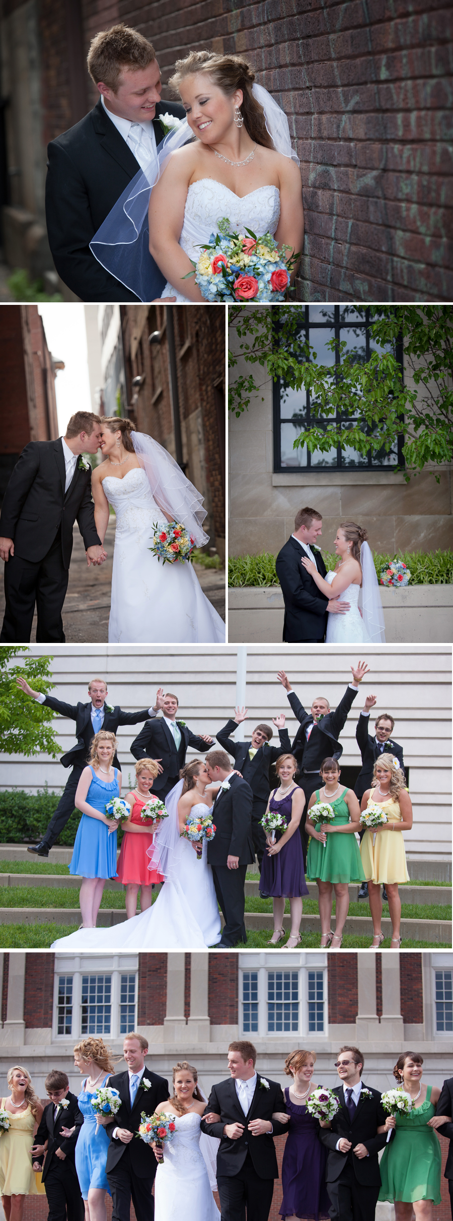 """Jonathan and Megan liked the urban graffiti look for a few of the pictures. The Henry Clay has a small alleyway right next to the doors which was exactly what we were looking for. One of my favorite shots is the bridal party shot with the guys jumping.  The guy to the very left in the blue definitely gets the award for """"most enthusiastic""""."""