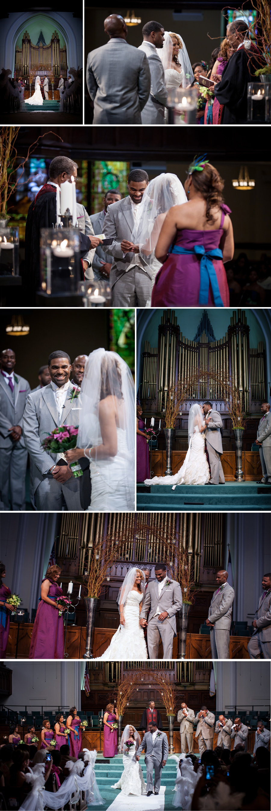 As soon as the couple was announced as Mr. & Mrs. each of the groomsmen pulled out their handkerchiefs on cue to wipe away the tears. The sanctuary erupted into laughter.