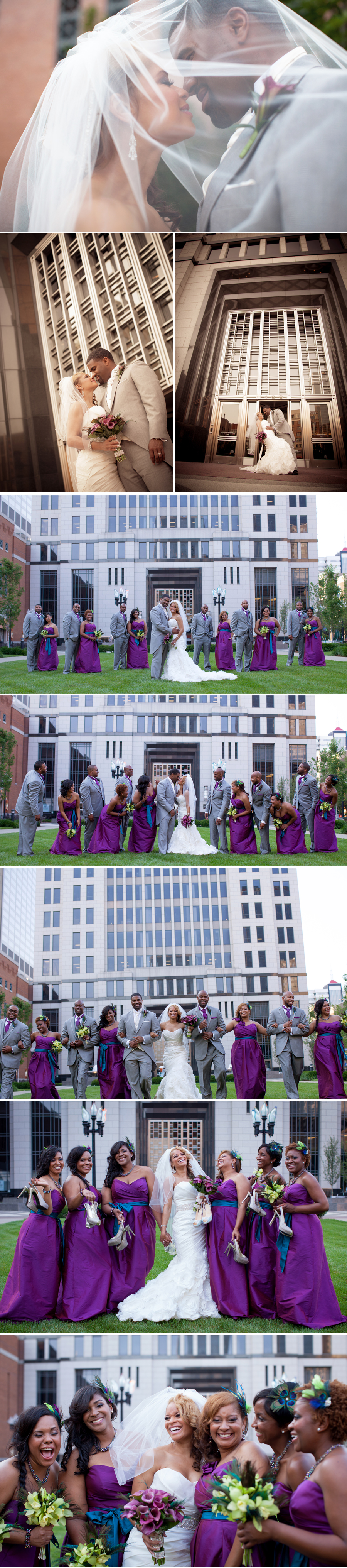 The plaza in front of the Aegon Building was a great backdrop to these bridal party shots. Bridal party photographs are always so much more interesting when they show everyone having fun. This group had a blast!!