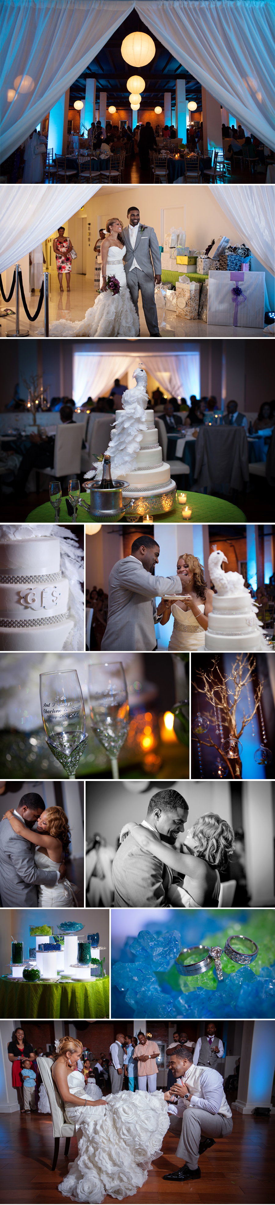 This has to be one of my favorite wedding cakes!! The feathers that drape down the side of the cake made it the perfect centerpiece for the room.