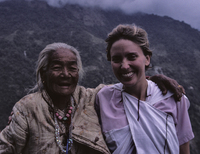 Sandra the organ-grinder's monkey, and a charming elder Gurung lady with no teeth.