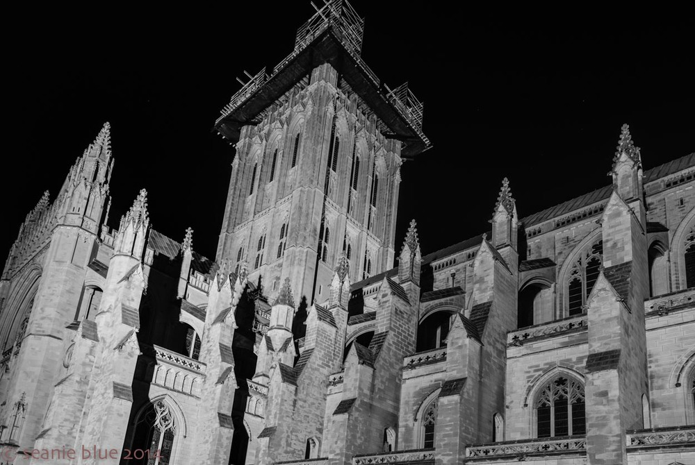 B&W: Cathedral distorted. But drama!