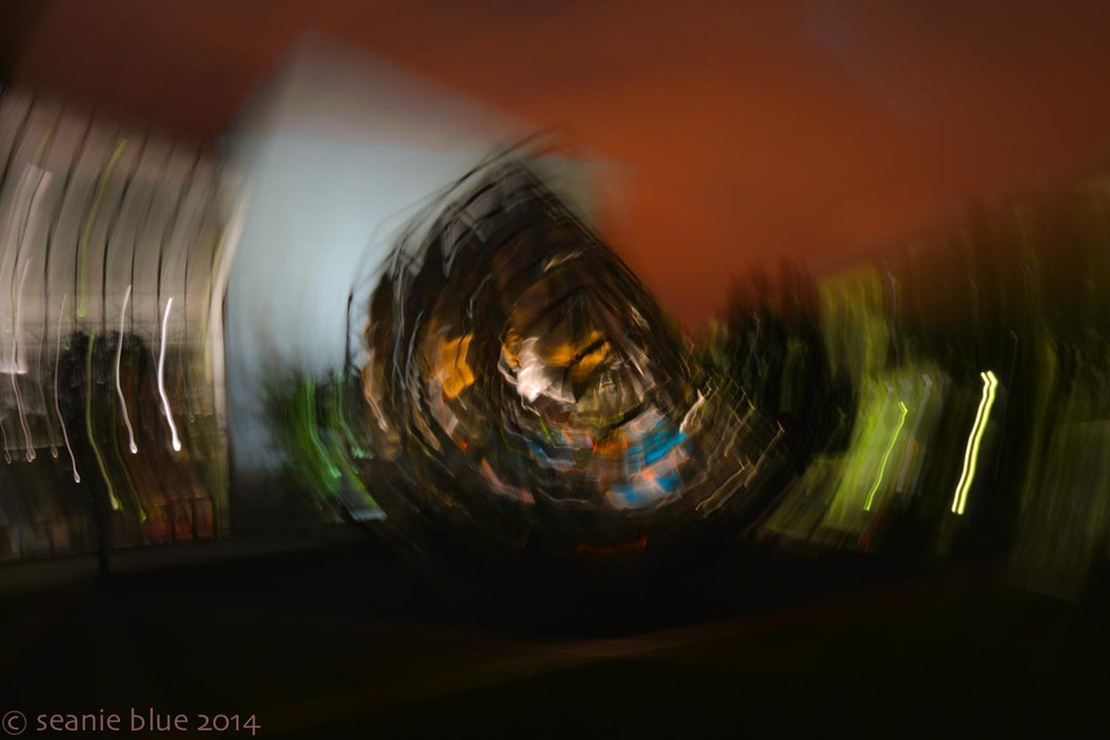 Shot with a faster shutter speed, while twisting the camera smoothly around.