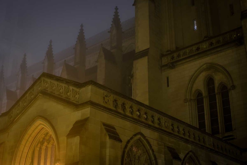 The National Cathedral, foggy night.