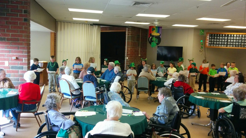 We enjoyed singing Irish songs and playing St. Patrick's Day Bingo with our friends from Sacred Heart.