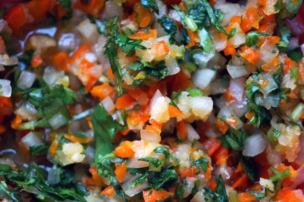 Veggies chopped and ready to mix with the ground beef.