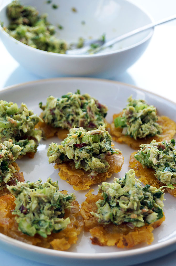 Venezuelan reina pepiada (avocado chicken salad) with tostones ::: TheCuriousCoconut.com