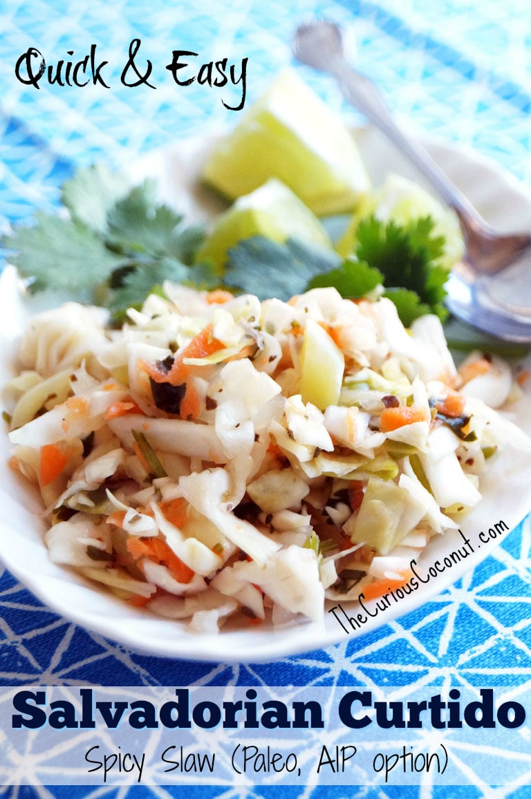 Quick and Easy Salvadorian Curtido (Spicy Slaw) Paleo with AIP option // TheCuriousCoconut.com