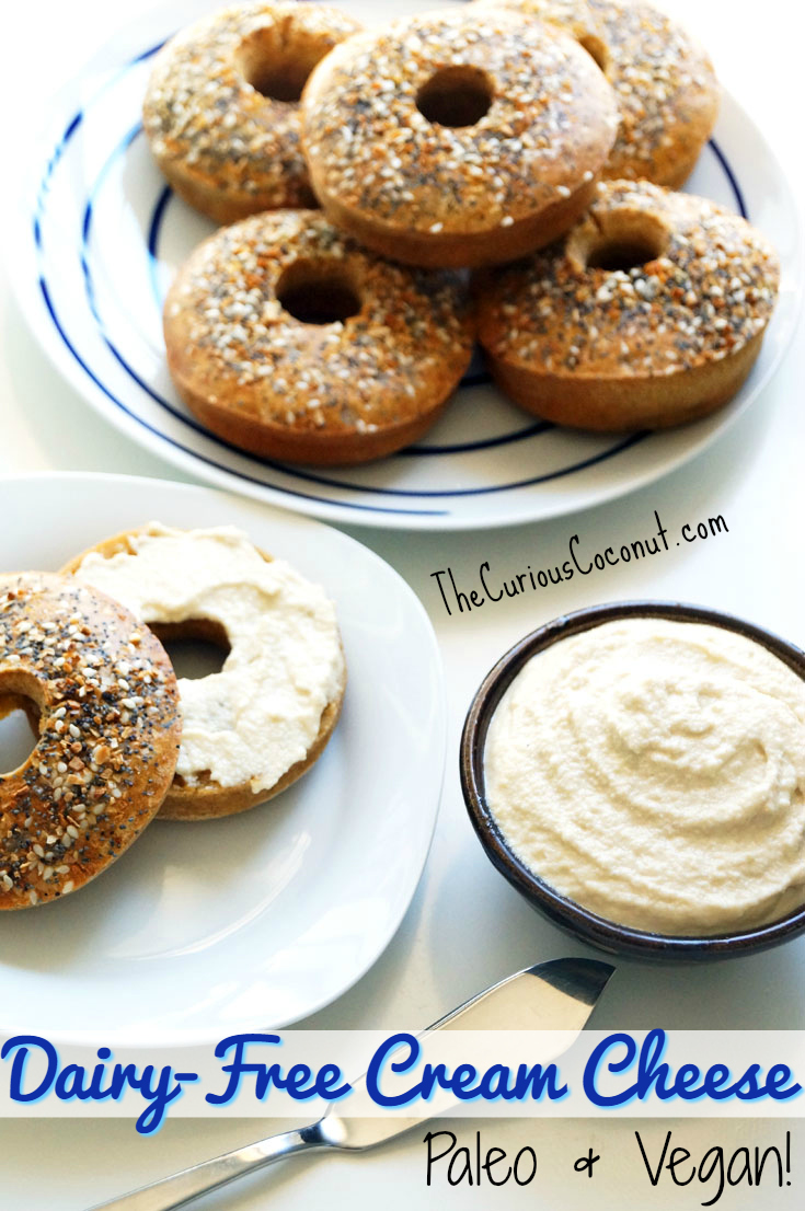 "Savory Dairy-Free Cream ""Cheese"" to enjoy on your favorite #Paleo or vegan bagel! // TheCuriousCoconut.com"