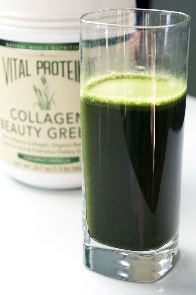 Vital Proteins Organic Collagen Beauty Greens with spore probiotics // TheCuriousCoconut.com