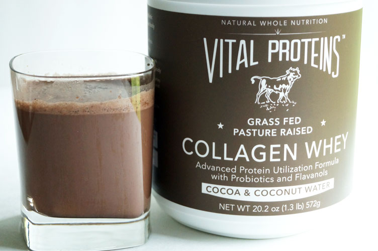 Grass-Fed Collagen + Whey by Vital Proteins is a balanced protein supplement. Tastes like chocolate milk for adults! // TheCuriousCoconut.com