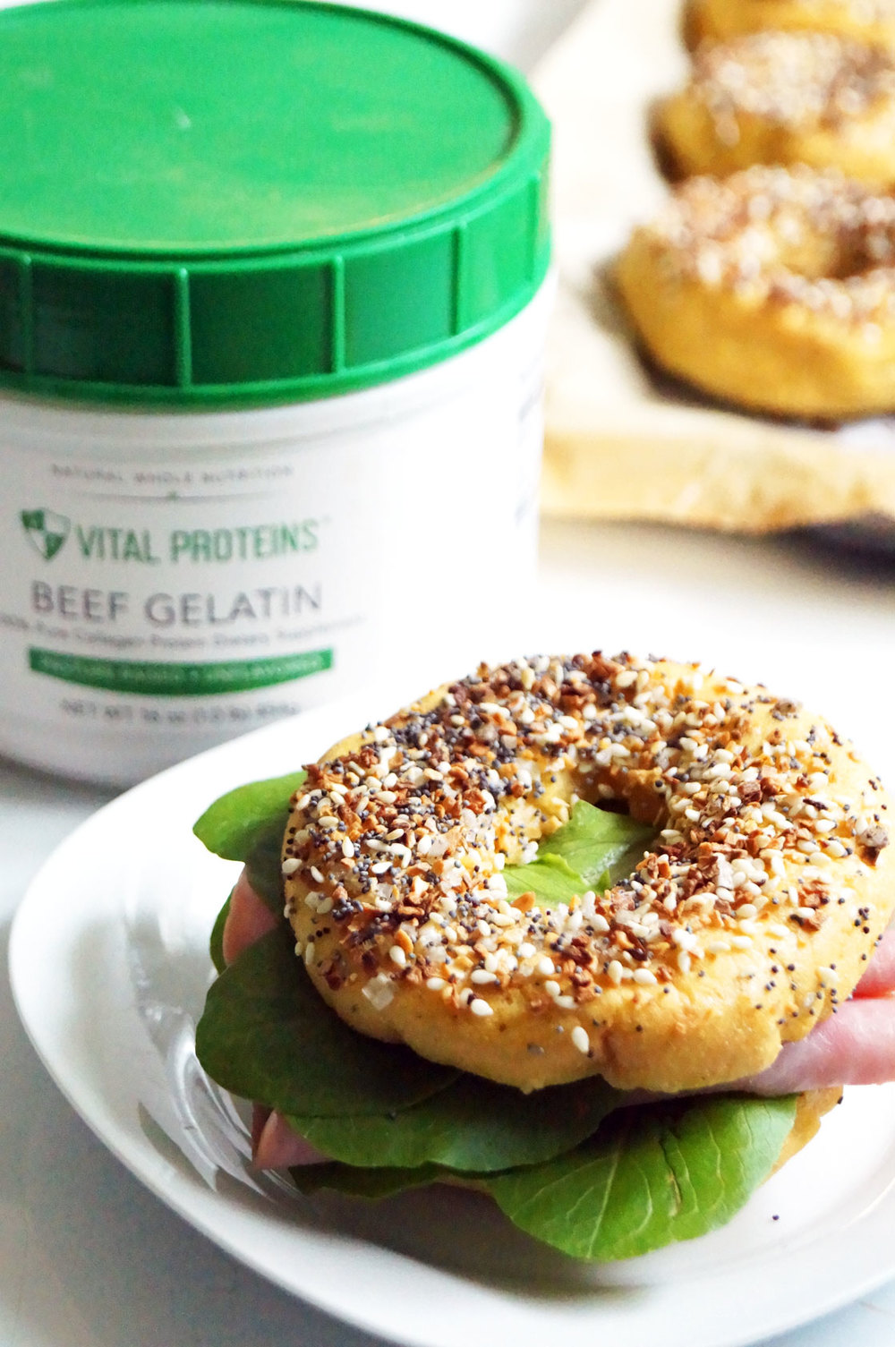 AIP Bagel Sandwiches with Vital Proteins gelatin // TheCuriousCoconut.com