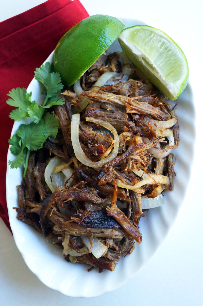 Slow Cooker Vaca Frita - Crispy Cuban Beef with Garlic, Lime, and Onions // TheCuriousCoconut.com