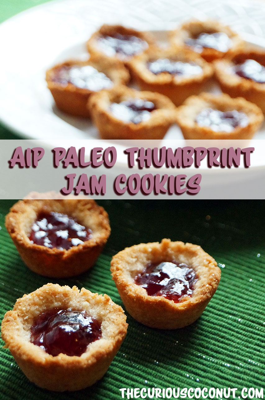 #AIP #Paleo Thumbprint Jam Cookies from The Allergy-Free Holiday Table //   TheCuriousCoconut  .  com