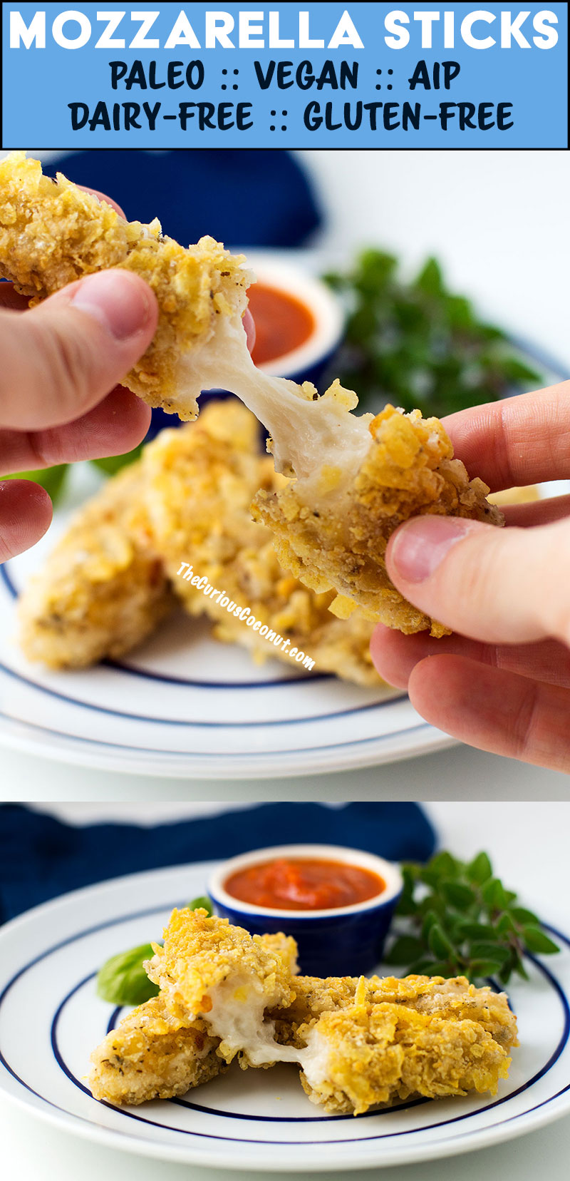 Mozzarella sticks with tapioca cheese that melts and stretches! #Paleo and #Vegan and even suitable for the #AIP! This recipe is easy and delicious. Nut-free, Gluten-free, Grain-free, Dairy-free //   TheCuriousCoconut  .  com