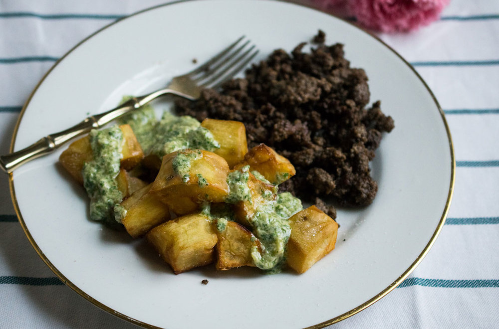 boniato with egg-free AIP mayo from Latin American Paleo Cooking