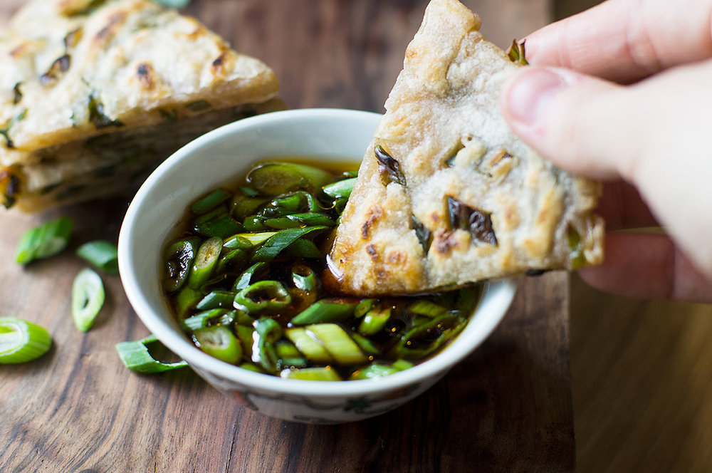 Paleo Scallion Pancakes with spicy dipping sauce