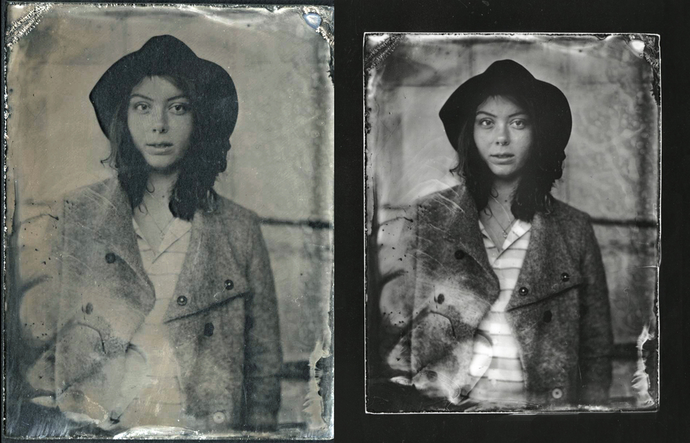 Ambrotypes and contact prints created in the darkroom