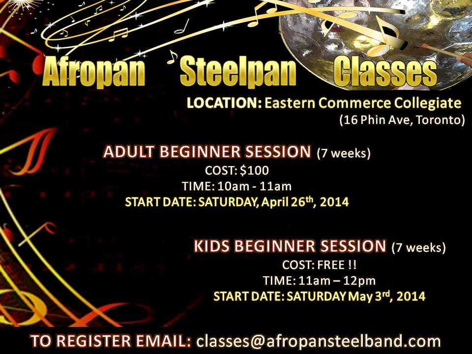 Spring Steelpan Classes Flyer