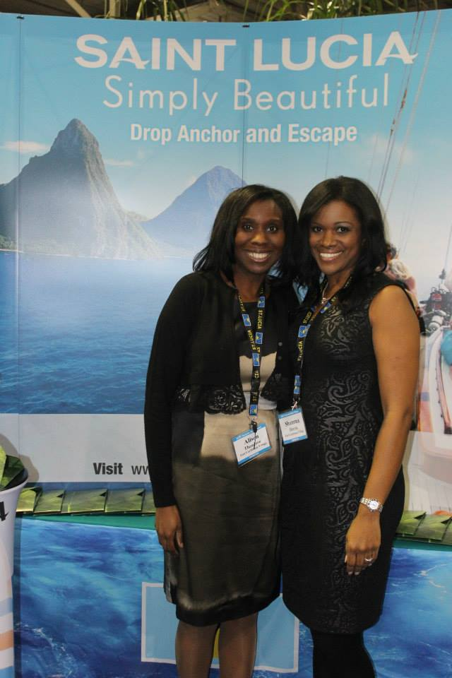 "VIP Night in the ""Eastern Caribbean Village"" at the Toronto International Boat Show. Regional Marketing Manager Allison Theodore from the St. Lucia Tourism Board and St. Lucian tourism representative Shama."