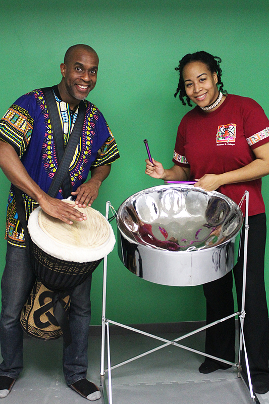 Djembe drummer Bentley Springer and steelpannist Suzette Vidale ended the event with a grand finale fusion.