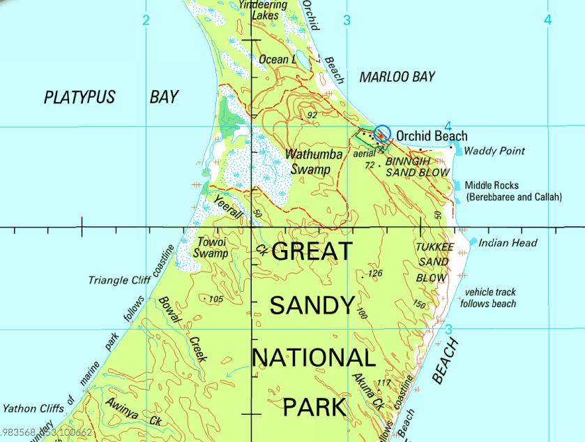 Indian Head Fraser Island Map