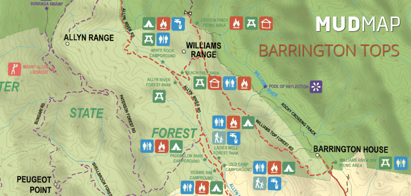 Mud Map Barrington Tops National Park map. Available on Mud Map 2 GPS App and Mud Map M7 GPS. Click image to view full map.